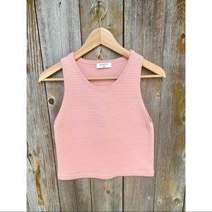 ARITZIA BABATON pink ribbed knit tank top